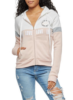 Love Graphic Zip Up Hooded Sweatshirt - 3056051067614