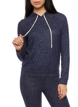 Soft Terry Knit Hooded Sweatshirt - 3056054266584