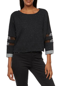 Knit Crop Top with Mesh Trim - 3056054266788