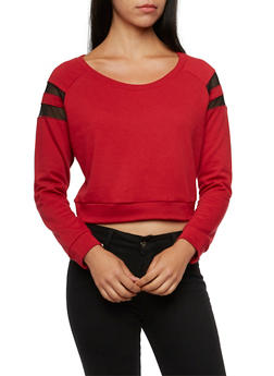 French Terry Crop Top with Mesh Trim - 3056054266794