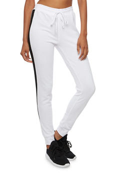 Joggers with Contrasting Side Stripes - WHITE/BLACK - 3056054266806