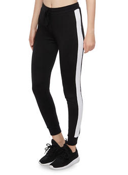 Joggers with Contrasting Side Stripes - BLACK/WHITE - 3056054266806