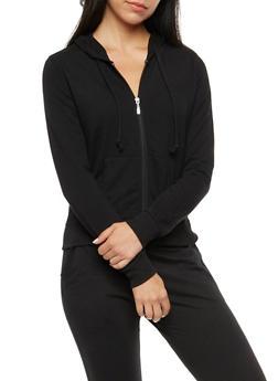 Long Sleeve Hooded Zip Front Top - 3056054266862