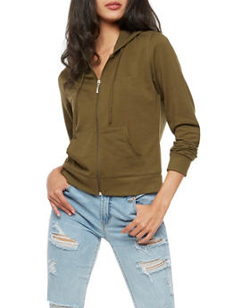 Long Sleeve Hooded Zip Front Top - 3056054266862