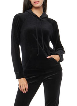 Velour Hooded Sweatshirt - BLACK - 3056054266891
