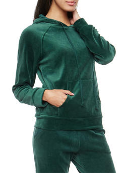 Velour Hooded Sweatshirt - HUNTER - 3056054266891