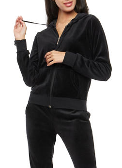 Velour Zip Up Hoodie - BLACK - 3056054266892