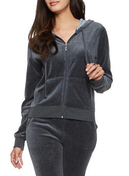 Velour Zip Up Hoodie - CHARCOAL - 3056054266892
