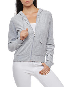 Velour Zip Up Hoodie - HEATHER - 3056054266892