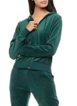 Velour Zip Up Hoodie - HUNTER - 3056054266892
