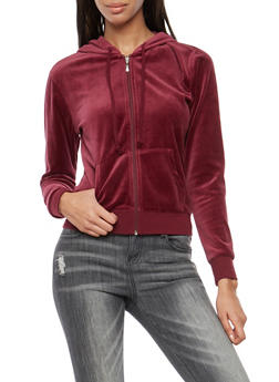 Velour Zip Up Hoodie - BURGUNDY - 3056054266892