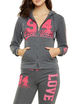 Zip-Front Hooded Jacket with Love Wild Graphic - 3056063405100