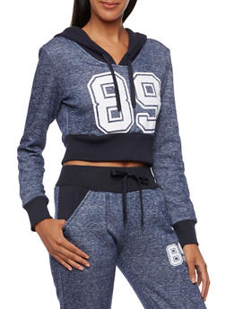 Cropped Hoodie with Number Graphic - 3056072290040