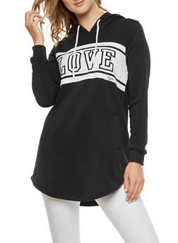 Fleece Love Graphic Tunic Sweatshirt - 3056072290102
