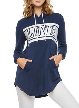Fleece Love Graphic Tunic Sweatshirt - 3056072290102