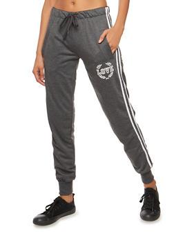 Love Graphic Varsity Stripe Sweatpants - 3056072290169