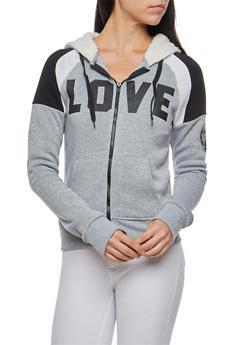 Love Graphic Sweatshirt with Sherpa Hood - 3056072290173