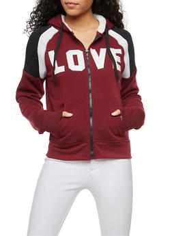 Love Graphic Sweatshirt with Sherpa Hood - 3056072290173