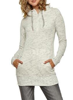 Marled Half Zip Hooded Tunic Sweatshirt - 3056072290205