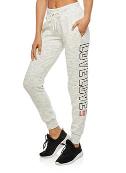 Love Graphic Marled Print Sweatpants - 3056072290216