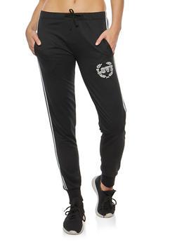 Varsity Stripe Love Graphic Sweatpants - BLACK - 3056072291069