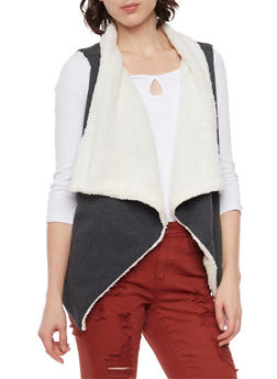Draped Vest with Faux Fur Lining - 3056072291670