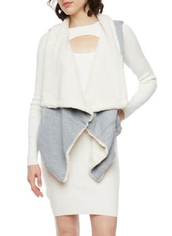 Draped Vest with Faux Fur Lining - HEATHER - 3056072291670