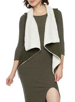 Draped Vest with Faux Fur Lining - OLIVE - 3056072291670