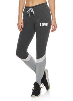 Love Graphic Fleece Color Block Sweatpants - 3056072291703