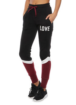 Color Block Joggers with Love Print - 3056072291730