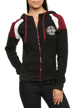 Fleece Hoodie with Love Nation Graphics - BLACK/BURGUNDY - 3056072291844