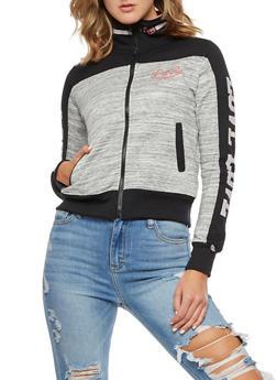 Marled Color Block Graphic Zip Front Sweatshirt - 3056072291870
