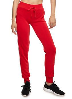Fleece Lined Varsity Stripe Sweatpants - 3056072291906