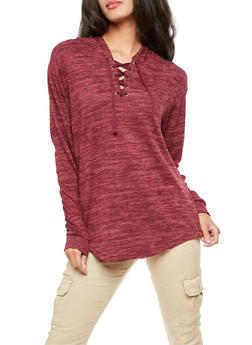 Marled Lace Up Hooded Sweater - 3056072291940