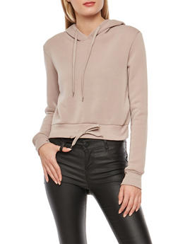 Cropped Pull Over Hooded Sweatshirt - 3056072291950