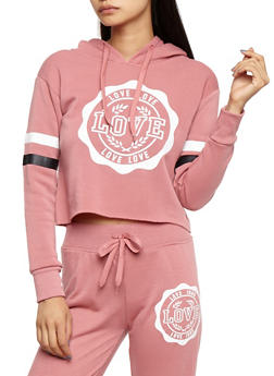 Love Graphic Raw Hem Hooded Sweatshirt - 3056072291980
