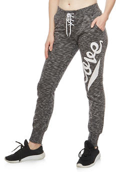 Marled Lace Up Love Graphic Sweatpants - 3056072292010
