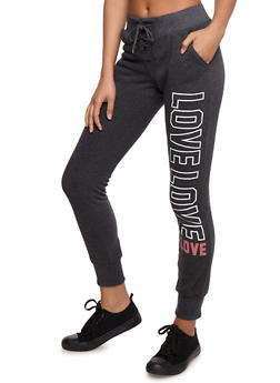 Love Graphic Lace Up Joggers - CHARCOAL - 3056072292013