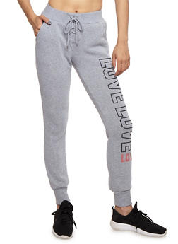 Love Graphic Lace Up Joggers - HEATHER - 3056072292013