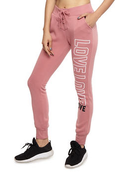 Love Graphic Lace Up Joggers - 3056072292013