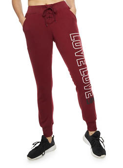 Love Graphic Lace Up Joggers - BURGUNDY - 3056072292013