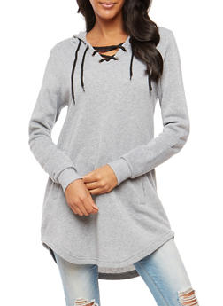 Lace Up Hooded Tunic Sweatshirt - HEATHER - 3056072292022