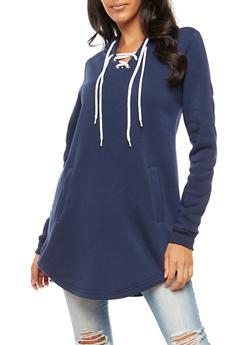 Lace Up Hooded Tunic Sweatshirt - NAVY - 3056072292022