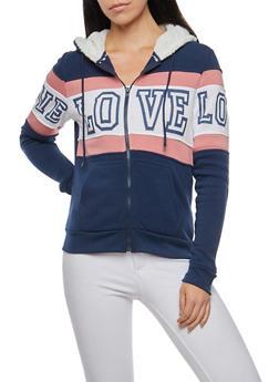 Love Graphic Sweatshirt with Sherpa Hood - 3056072292110