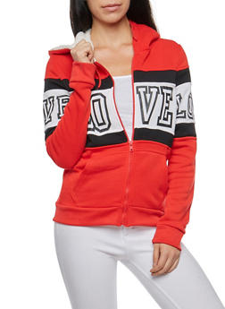 Love Graphic Sweatshirt with Sherpa Hood - 3056072292110