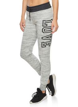 Marled Contrast Waist Graphic Sweatpants - 3056072292111