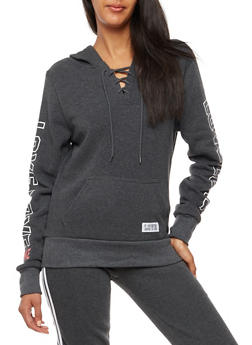 Fleece Lined Lace Up Graphic Hoodie - 3056072292130