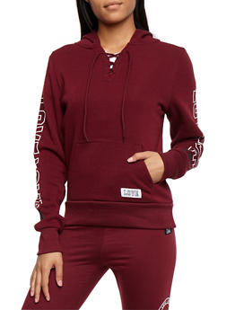 Fleece Lined Lace Up Graphic Sweatshirt - 3056072292130