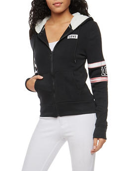 Love Graphic Sweatshirt with Sherpa Lined Hood - 3056072292150