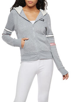 Love Graphic Sweatshirt with Sherpa Lined Hood - 3056072292150